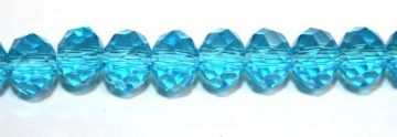72pcs x 8mm Aqua blue faceted glass rondelle beads -- S.G06 -- 3005619